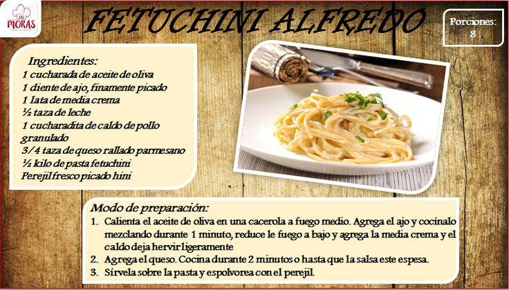 Receta Fetuchini  Alfredo mas recetas en: https://www.facebook.com/lasmorasbanquetes