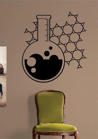 Chemistry Beaker Science Design Decal Sticker Wall Vinyl Art Home Room Decor