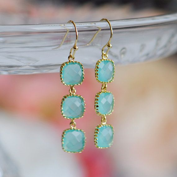Aqua earrings Tiffany blue earrings Tiffany blue by joojooland, $39.00