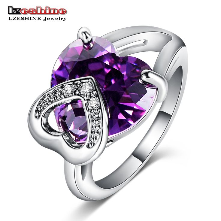 LZESHINE Engagement Finger Ring Women Jewelry Real Silver Plated Double Heart  Purple Color Zirconia Cocktail Rings CRI0057-B