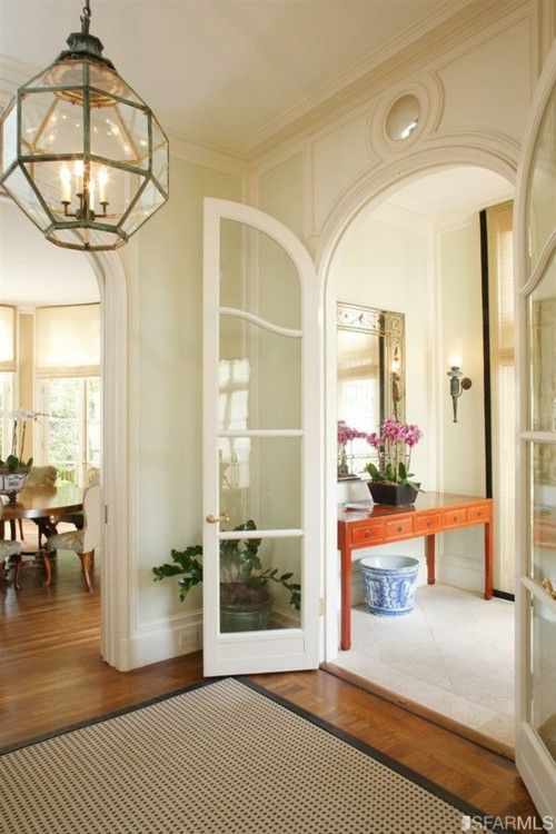Entry: The Doors, Curves French, Lights Fixtures, French Doors, Arches Doorway, Arches Doors, Pendants Lights, Glasses Doors, French Style