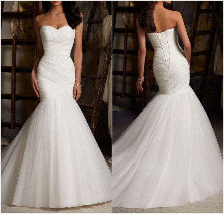 High Quality Mermaid Wedding Dresses,Custom MadeWedding Dresses,Off-shoulder Wedding Dresses,Tulle Wedding Dress,White Bridal Gown,Long Prom Dress