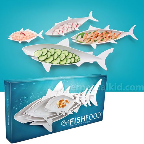 Fish Food Dish Set. Create your very own food chain with these four nesting fishies. Your guests will be delighted to see them circling the table! 15.5 inch shark, 12.5 inch tuna, 10.75 inch mackerel, and 6.25 inch jackfish. All molded in a durable glossy ivory-color ABS plastic. $19.99
