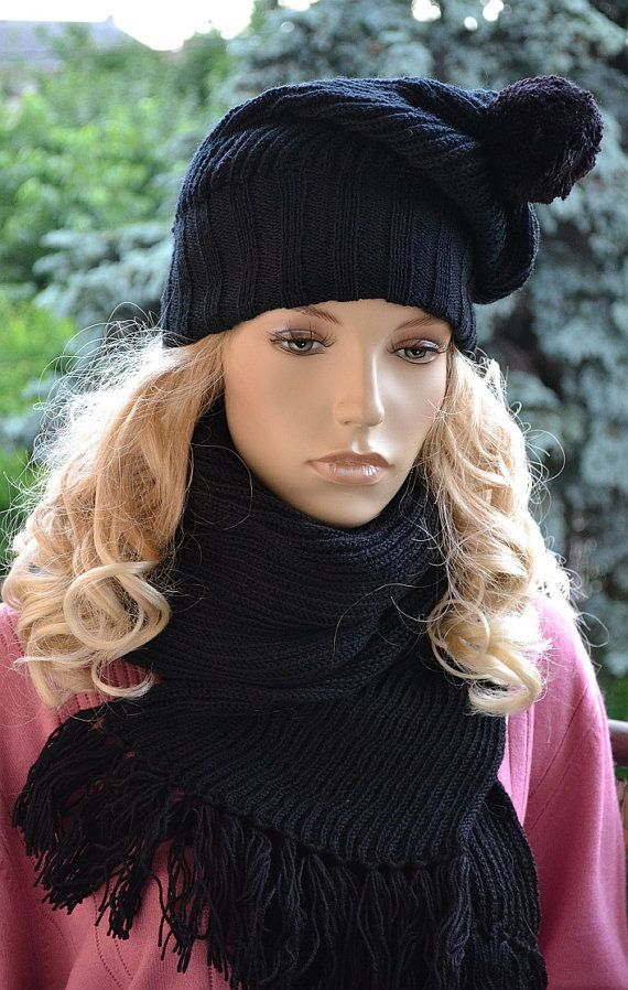 Knitted  Hat & Scarf Set Slouchy Hat and Infinity by DosiakStyle