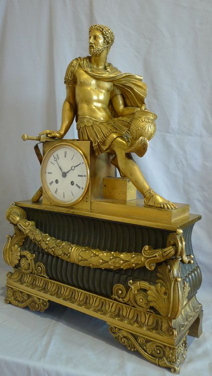 Antique French mantel clock Charles X of Marcus Aurelius in ormolu and patinated bronze. -