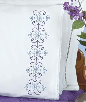 lace edge pillowcase with simple embroidery design