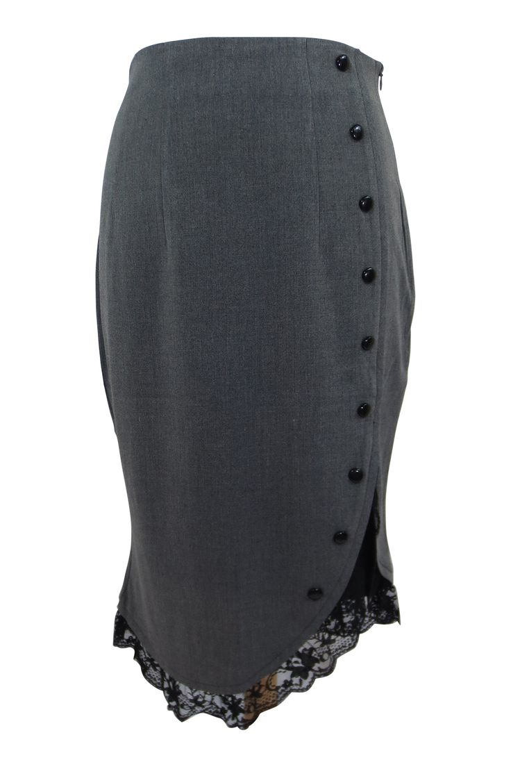 Elegant Pin-up Office lady black lace accent Gray pencil skirt. by Amber Middaugh