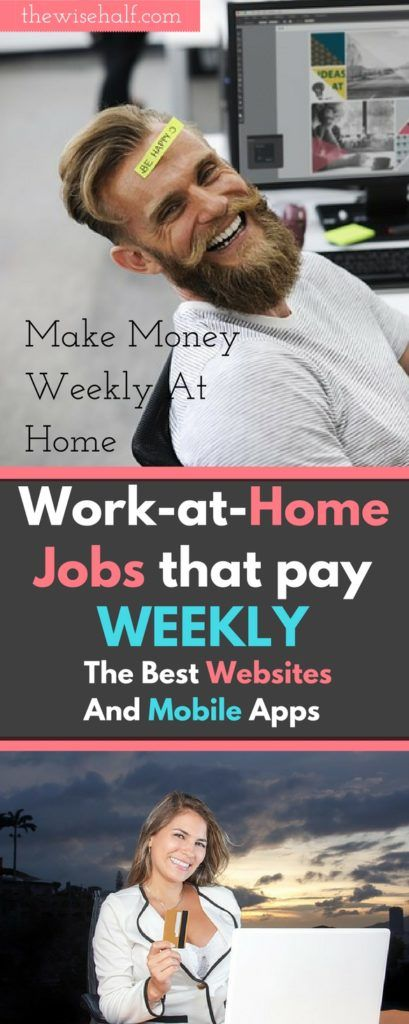 Tired of waiting? Here's a list of websites and apps that will help you with your financial needs. These are jobs-that-pay-weekly , work at home, money making apps, part time jobs, work online, side jobs, make money from home, make money fast.