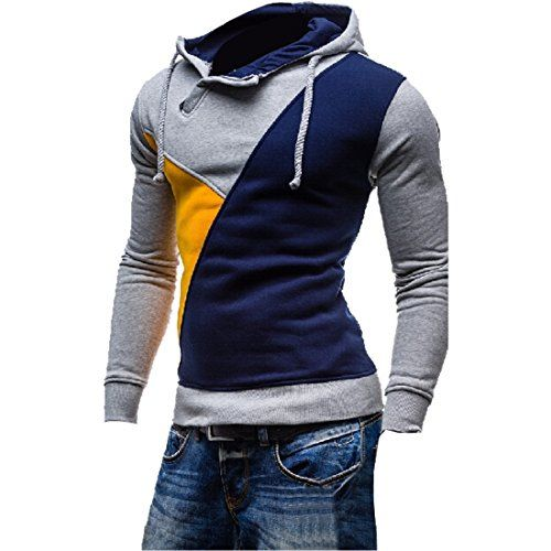 Partiss Herren Slim Buntes Colour-Block Hoodie
