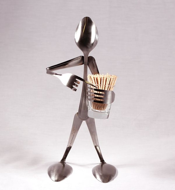 Spoon Art Toothpick Stand Spoon and Fork Art Sculptures What a fantastic idea for holding toothpicks.