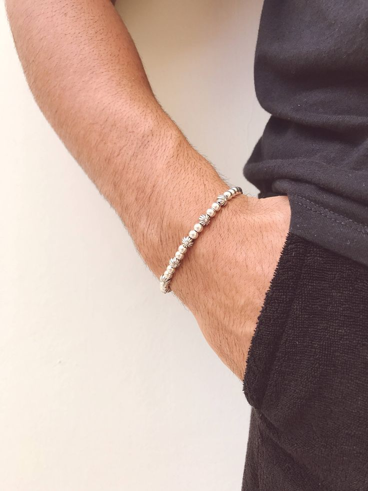 Excited to share the latest addition to my #etsy shop: Men's Bracelet, Minimal Bracelet Men, Metallic Bracelet, Metallic Beads Bracelet, Tiny Bracelet, Gift for Men, Made in Greece. http://etsy.me/2EfTPBE #jewelry #bracelet #white #birthday #silver #unisexadults #no #m