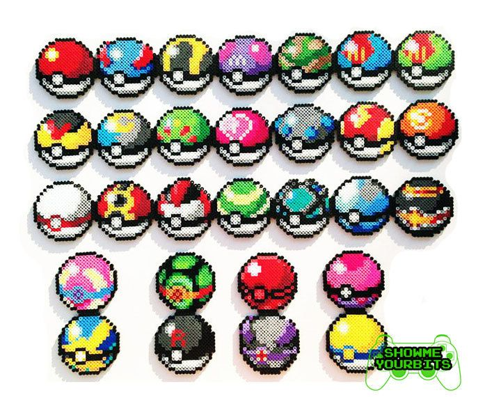 Sprites de Pokemon Perler choisir 1 Pokeball par ShowMeYourBits
