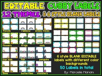 EDITABLE CUBBY TAGS- CUBBY LABELS, 12 THEMES AND 50 BLANK LABELS                                                                                                                                                     More