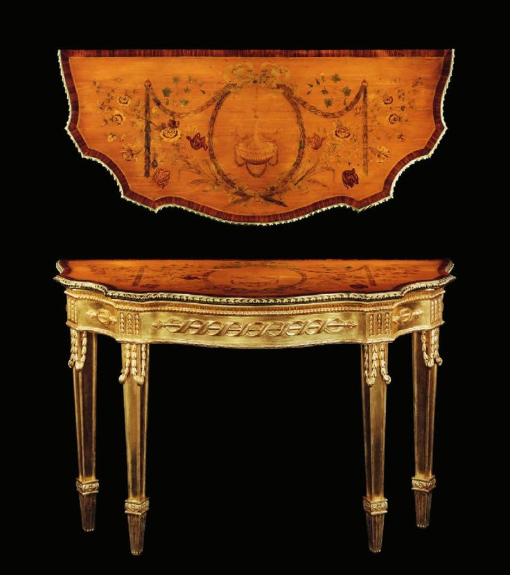 A pair of George III Ormolu mounted satinwood marquetry and giltwood side tables attributed to Mayhew and Ince, possibly to a design by James Wyatt... English circa 1775/1795. mo#ClippedOnIssuu from Ronald Phillips -Ronnie_Bennet