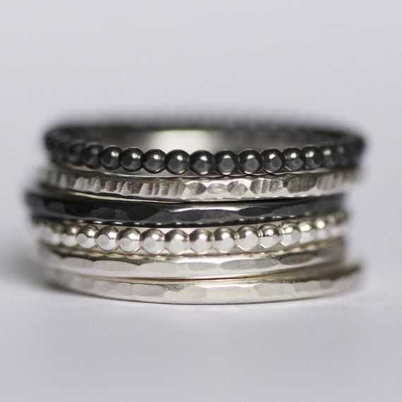 Plata anillos apilables