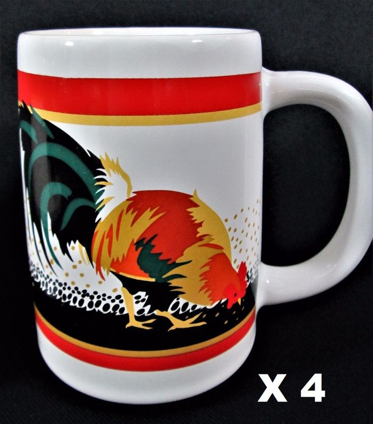 4 pc Rooster MUG set Otagiri Japan by Tom Taylor Heavy Wide Base Coffee Cups #Otagiri #CoffeeMugs