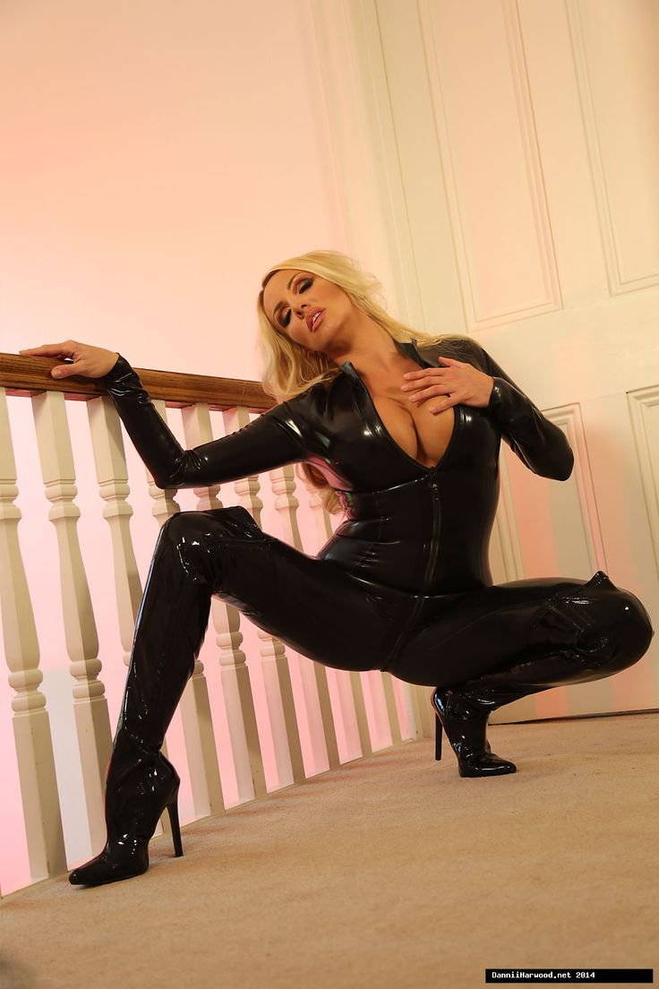 Blonde in black latex dress