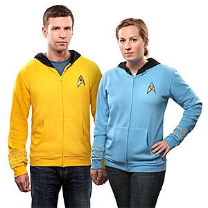 Original Series Star Trek fans need hoodie uniforms, too. So, we're more than happy to comply. With embroidered insignia and rank braids, these are the best way to stay warm... old school, Star Trek style!