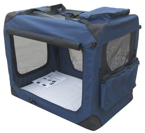 """EliteField Navy Blue 30"""" 3-Door Soft Dog Crate, 30"""" Long x 21"""" Wide x 24"""" High, FREE Shipping - http://www.thepuppy.org/elitefield-navy-blue-30-3-door-soft-dog-crate-30-long-x-21-wide-x-24-high-free-shipping/"""
