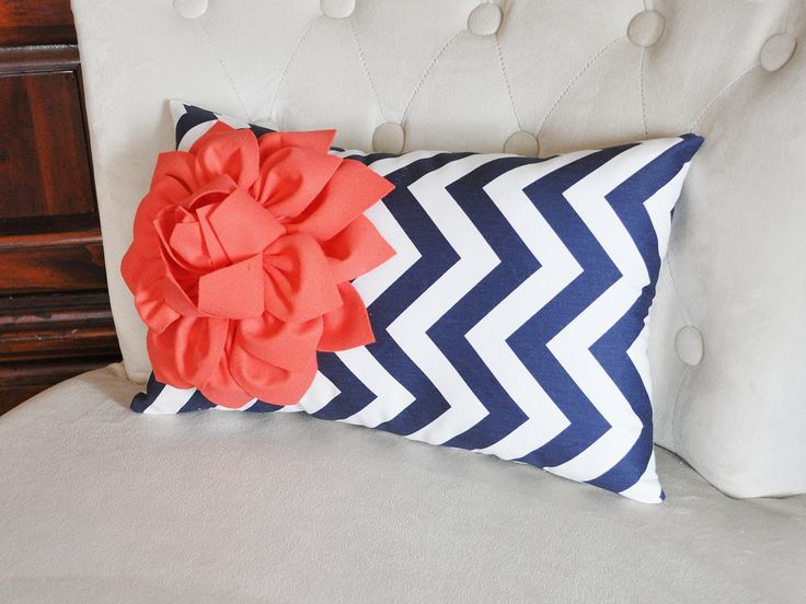 Coral Flower on Navy Chevron Lumbar Pillow by bedbuggs on Etsy, $33.00