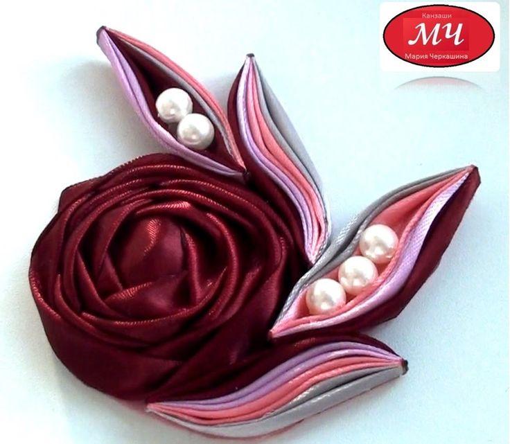 МК роза с необычными листиками. Канзаши. Цветы из лент. DIY Rose ribbon