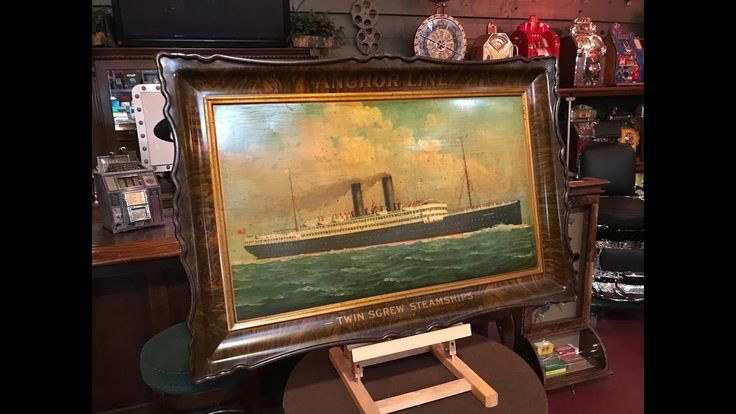 1865 ANCHOR LINE Oceanliner Shipping Company Self Framed Tin Advertising...