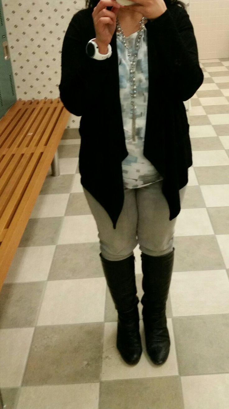 Pastel blouse , black  cardigan, grey jeans, black boots #loverickis