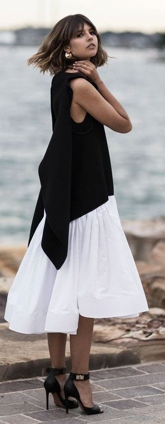 #spring #summer #street #style #outfitideas | Black and White Beach Dress |Badlands                                                                             Source