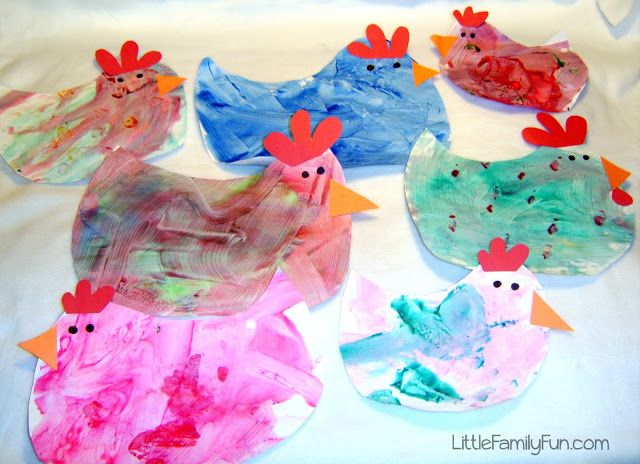 Finger-painted Hens - how cute :)  Could vary colors, etc. for most any bird...