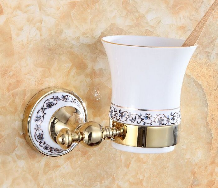 Free shipping Modern accessories luxury European style Golden copper toothbrush tumbler&cup holder wall mount bath DB001K-G