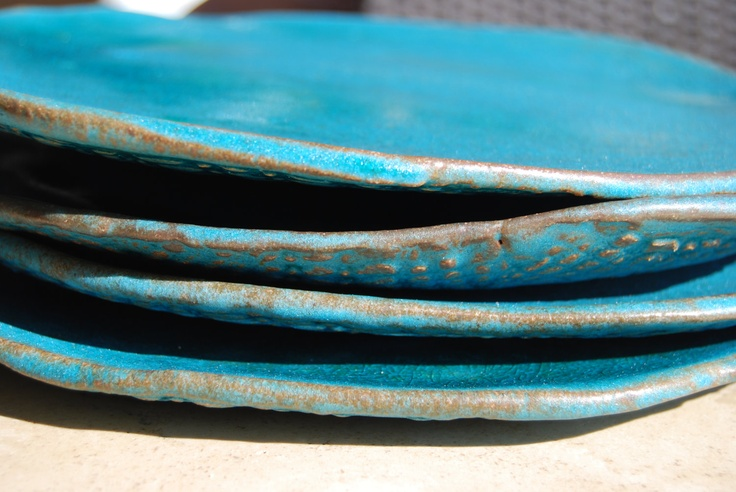 Turquoise ceramic  dinner  plates - stoneware dishes - Set of 4 ceramic tableware personalized wedding gift dinnerware. $98.00, via Etsy.