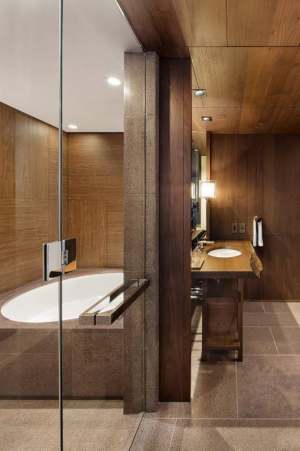 """14 Mind-Blowing Hotel Bathrooms We Could Live In #refinery29  http://www.refinery29.com/best-hotel-bathrooms#slide-13  Andaz Tokyo Toranomon HillsThe bathrooms at this design-centric hotel are evocative of a traditional Japanese bathhouse — except they feature sleek faucets and futuristic """"smart toilets"""" with electronic bidets. ..."""