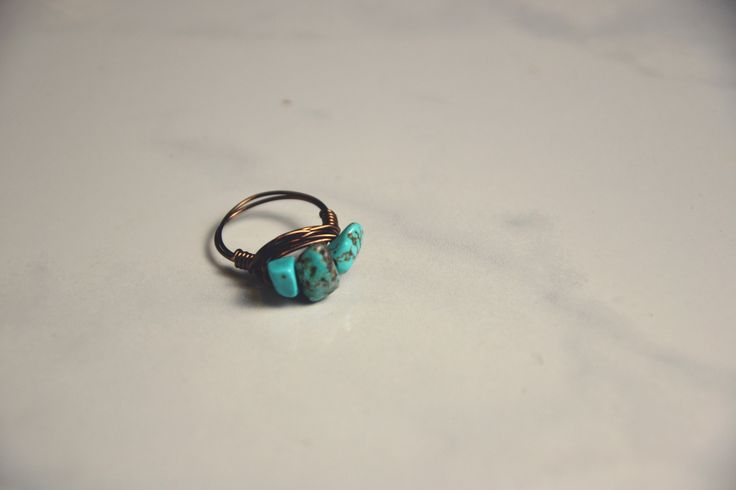 Turquoise & Brass Wrapped Ring