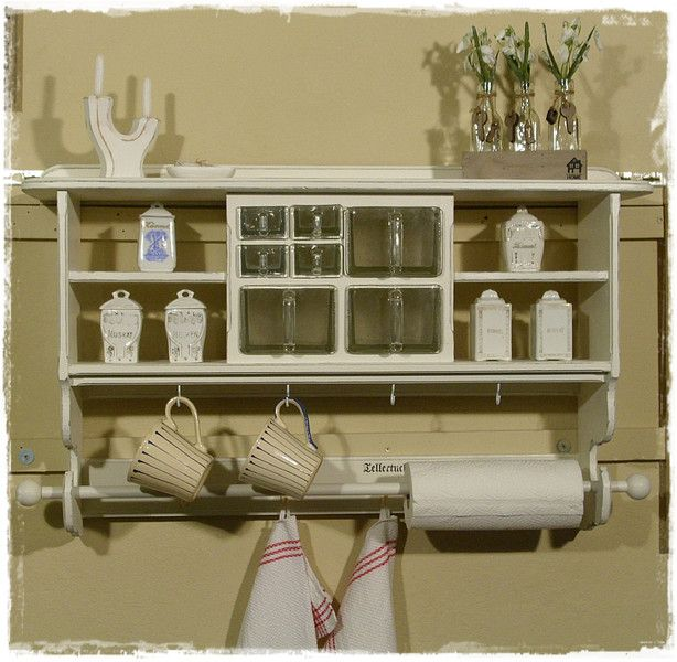 wandregal k chenregal tellerregal shabby chic von ansolece auf aus der. Black Bedroom Furniture Sets. Home Design Ideas