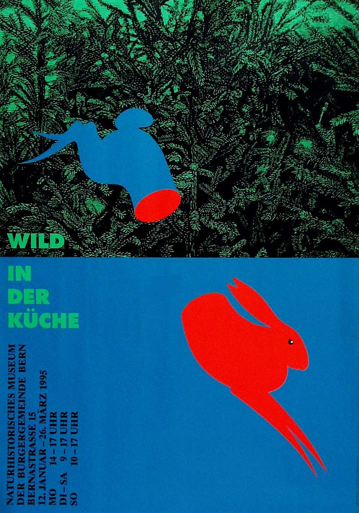 Artist: Kuhn Claude  Poster title: Wild in der Küche  Naturhistorisches Museum Bern   Year: 1995 Technique: SD Condition: A Size: 128 x 90 cm ( 50,59 x 35,57 inch)  Dark Side of Typography