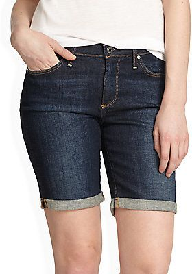 $95, Navy Denim Shorts: AG Adriano Goldschmied Denim Bermuda Shorts. Sold by Off 5th. Click for more info: http://lookastic.com/women/shop_items/178202/redirect