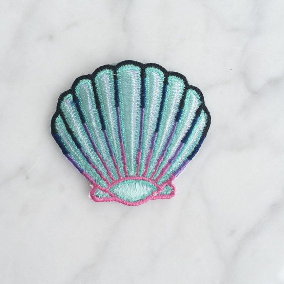 Seashell Patch Iron On Embroidered by WildflowerandCompany