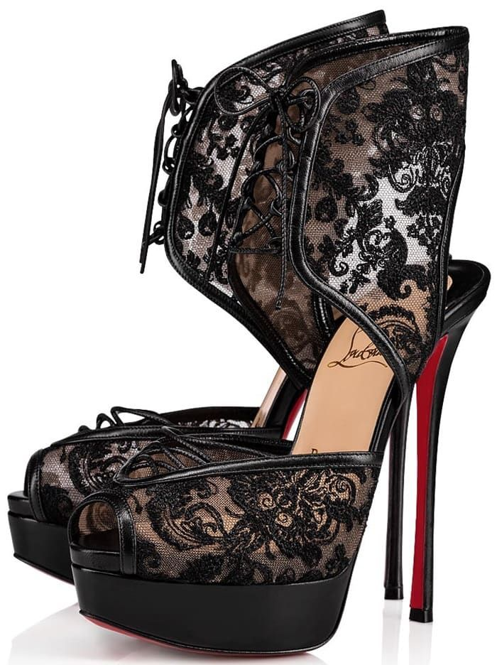 7f37cfe837c Christian Louboutin sandals in embroidered dentelle lace with ...