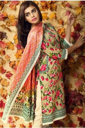 Beige, Pink, and green Khaadi Lawn