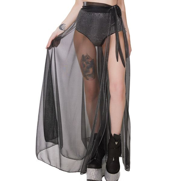 Black Sheer Metallic Silver Maxi Skirt ($38) ❤ liked on Polyvore featuring skirts, ankle length skirts, maxi skirt, sheer maxi skirt, long skirts and wrap skirts