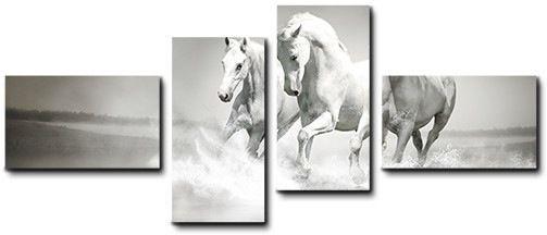 Quadro moderno 4 pz stampa su tela cm 176x74 quadri XXL arte arredo cavalli mare