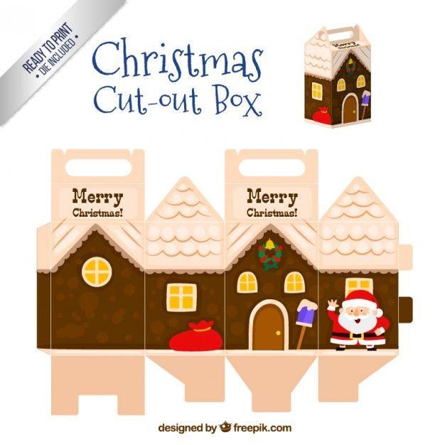 Caja recortable de navidad en estilo casa | Descargar Vectores gratis