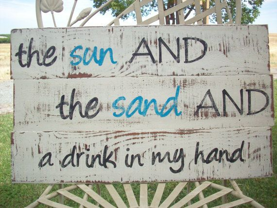 Beach Sign / Rustic Wood Sign / Beach House by TheCrickettyCottage