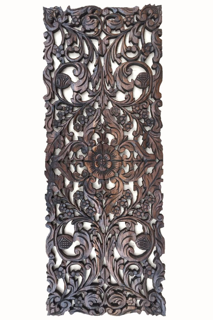 Floral Wood Carved Wall Panel. Asian Home Decor Wall Hanging. Decorative  headboard Relief Panel