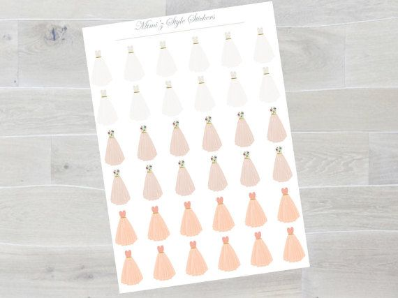 Erin condren planner stickers bridal or bride to be agenda stickers pink off-white peach color dresses
