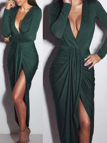 Sexy Plunging Neck Ruffled Long Sleeve Dress For Women
