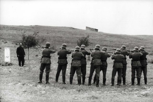 Crete, Greece, German paratroopers preparing to shoot a local hostage, May-June 1941.
