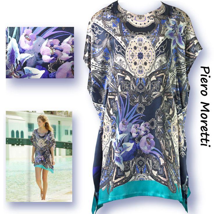 Летняя шёлковая блуза-туника, большие размеры  Коллекция Piero Moretti, Лето 2015  Код: 2888  Артикул: 124 02  Состав ткани: 95% шелк, 5% эластан  Размеры: 48, 52, 56, 60  Цвет: темно синий цветы  Цена: 20600 руб.  Большие размеры туники ни в коем случае не влияют на изящество этой прекрасной вещи. Модный и стильный рисунок ткани в трендовом колористическом решении передаёт настроение удовлетворения собой и своей жизнью, любви и очарования, женственности и сексуальности. Попробуйте…