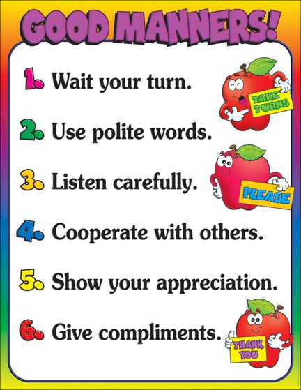 September is National Good Manners Month! Teach your class all about good manners with this cute chart!