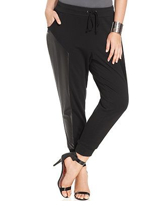 Modamix Plus Size Faux-Leather-Trim Jogger Pants